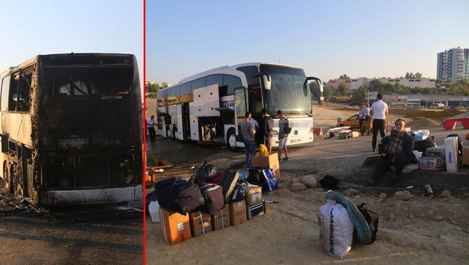 Yolcu otobüsünde panik: Seyir halindeyken yandı