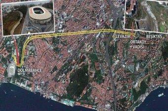 Dolmabahçe-Levazım Tüneli havadan görüntülendi