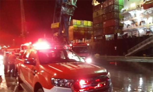Bandırma Limanı'nda vinç yangını