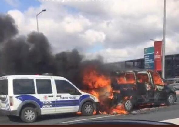 İstanbul Havalimanı giden yolcu kısmında yangın