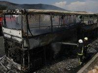 Otobüs yandı, 6 km kuyruk oluştu