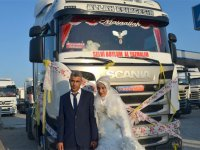 TIR şoförünün düğününde TIR konvoyu: