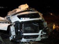 Mermer yüklü TIR şarampole uçtu: Sürücü öldü