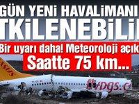 Yeni Havalimanı'na 75 km hızda rüzgar uyarısı